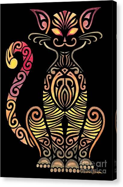 Tribal Cat Canvas Print