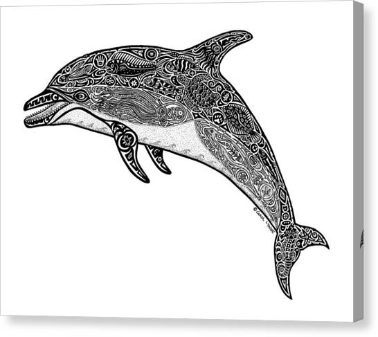 Dolphins Canvas Print - Tribal Dolphin by Carol Lynne