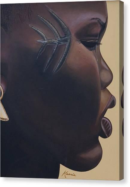 Acrylic On Canvas Print - Tribal Mark by Kaaria Mucherera