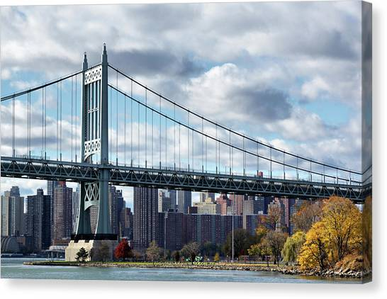 Triboro Bridge In Autumn Canvas Print