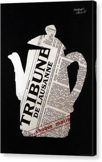 Tea Pot Canvas Print - Tribune - De Lausanne - Vintage Newspaper Advertising Poster by Studio Grafiikka