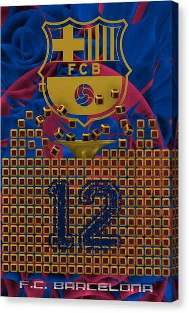 Uefa Champions Canvas Print - Tribute To F.c.barcelona by Alberto RuiZ