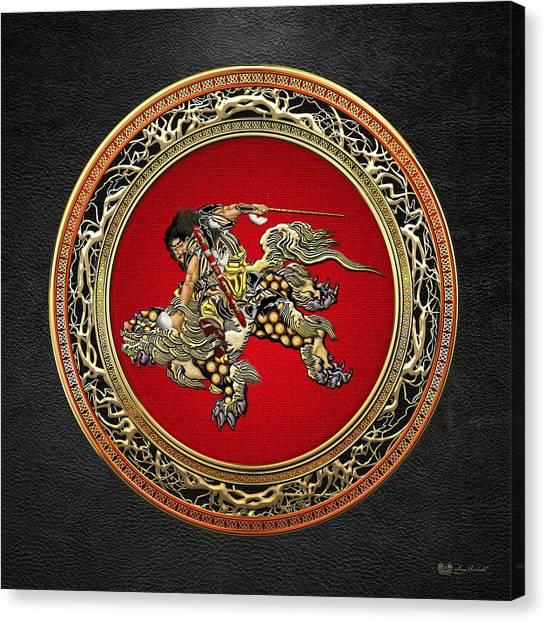 Japanese Canvas Print - Tribute To Hokusai - Shoki Riding Lion  by Serge Averbukh