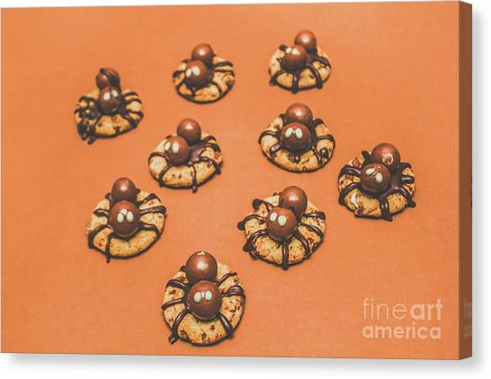 Biscuits Canvas Print - Trick Or Treat Halloween Spider Biscuits by Jorgo Photography - Wall Art Gallery