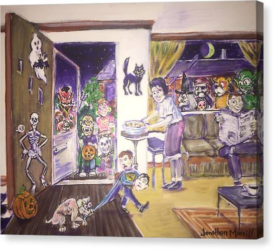 Trick Or Treat On Exeter Street Canvas Print