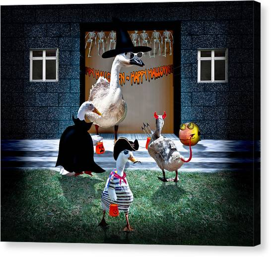 Creepy Canvas Print - Trick Or Treat Time For Little Ducks by Gravityx9  Designs