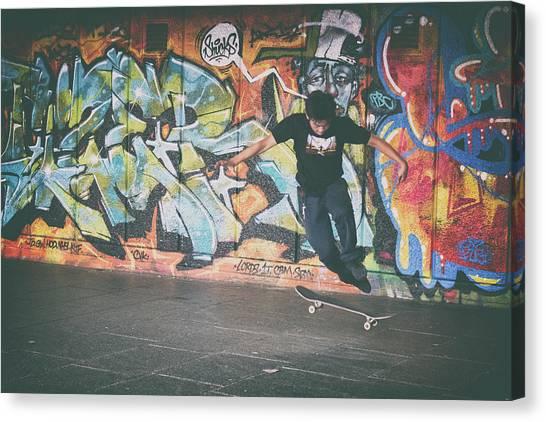 Skateboarding Canvas Print - Trickster by Martin Newman