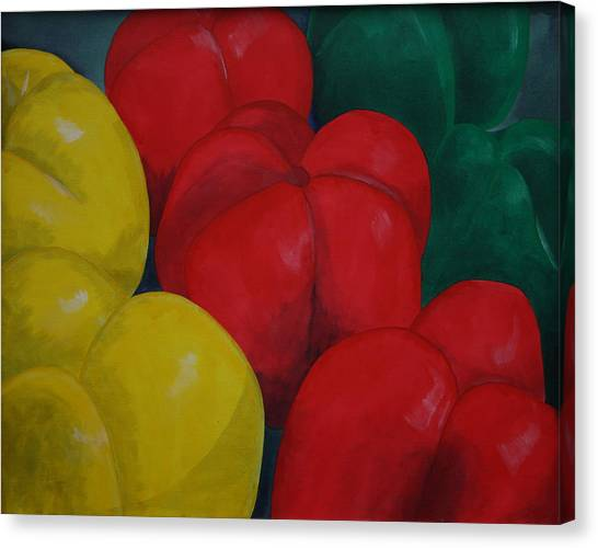 Tricolored Peppers Canvas Print