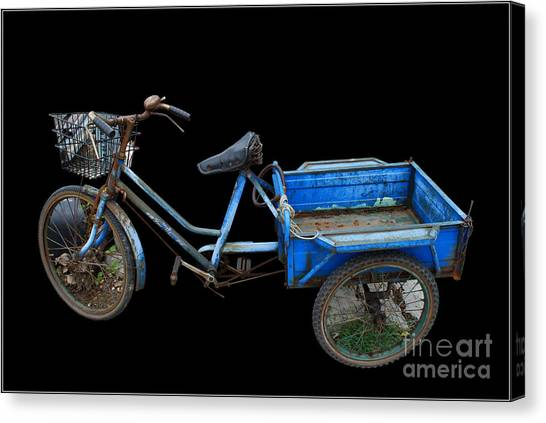 Tricycle In Blue Canvas Print by Ty Lee