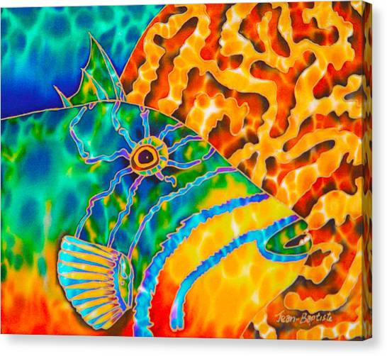 Triggerfish And Brain Coral Canvas Print