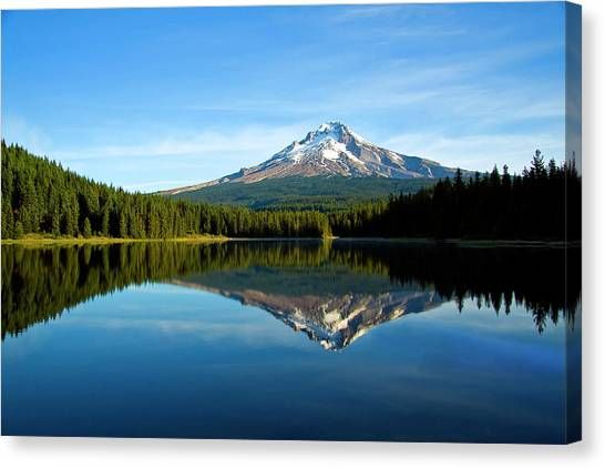 Trillium Lake Mt Hood Fall Canvas Print