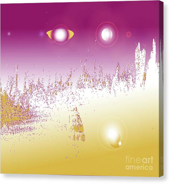 Canvas Print featuring the digital art Trilogy Eden - Abstract Art Print On Canvas - Digital Art - Fine Art Print - Universe Print by Ron Labryzz