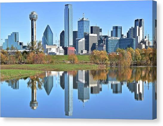 Dallas Stars Canvas Print - Trinity Park Water Reflects The Big D by Frozen in Time Fine Art Photography