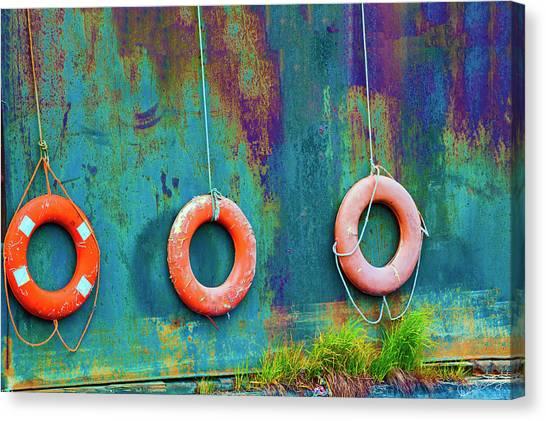 Trio Of Life Buoys Canvas Print
