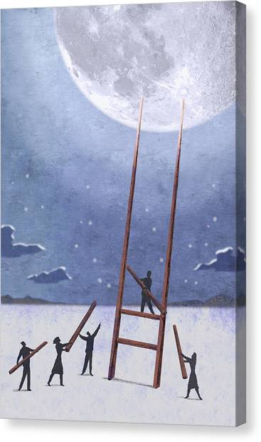 Conceptual Art Canvas Print - Trip To The Moon by Steve Dininno