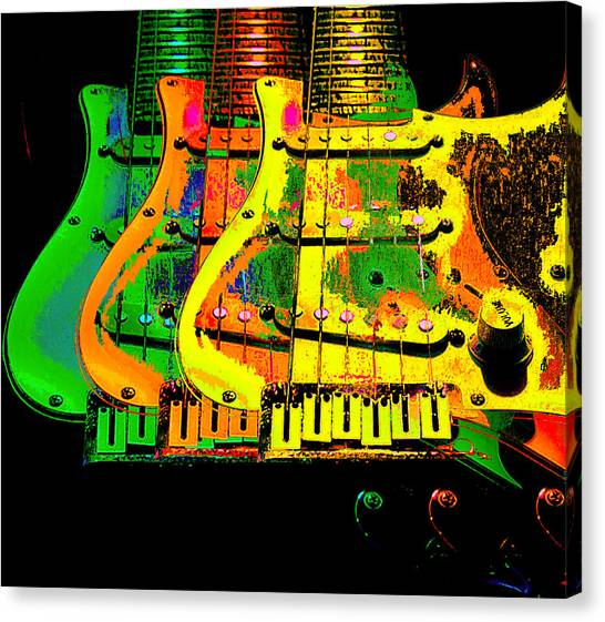 Canvas Print featuring the photograph Triple Pickguards by Guitar Wacky