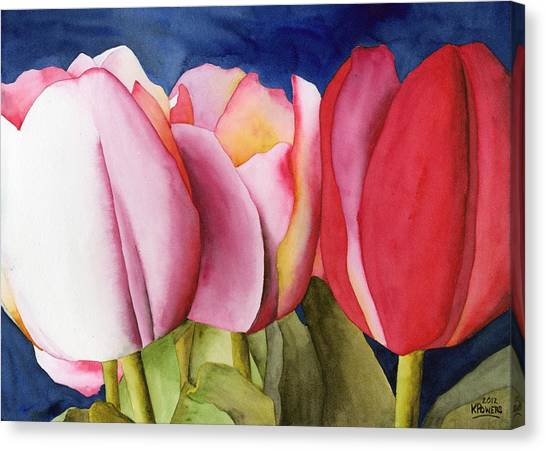 Triple Tulips Canvas Print