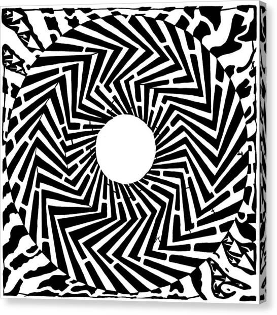Trippy Optical Illusion Swirly Maze  Canvas Print by Yonatan Frimer Maze Artist