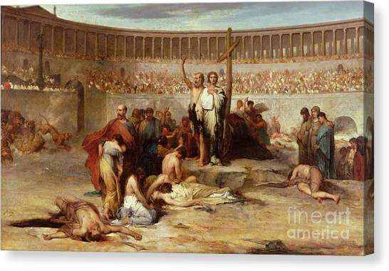 The Colosseum Canvas Print - Triumph Of Faith    Christian Martyrs In The Time Of Nero by Eugene Romain Thirion