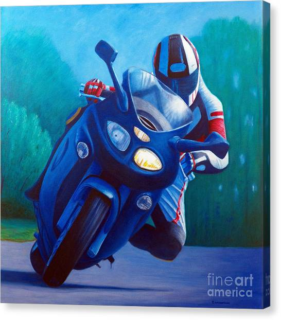 Motorcycle Canvas Print - Triumph Sprint - Franklin Canyon  by Brian  Commerford