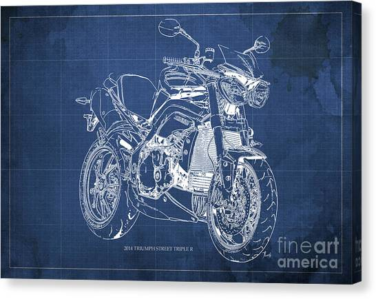 Dada Art Canvas Print - Triumph Street Triple R, 2014 Motorcycle Blueprint Blue Background Gift For Dad by Drawspots Illustrations