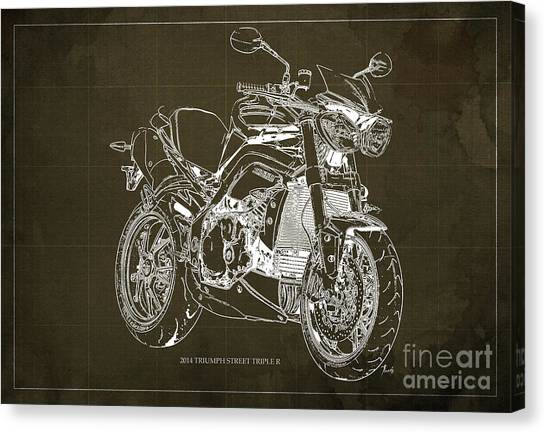 Dada Art Canvas Print - Triumph Street Triple R, 2014 Motorcycle Blueprint Brown Background Gift For Dad by Drawspots Illustrations