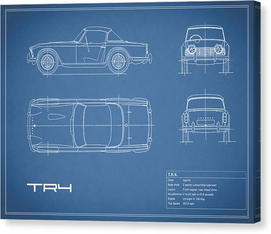 Car blueprint canvas prints fine art america car blueprint canvas print triumph tr4 blueprint by mark rogan malvernweather Gallery