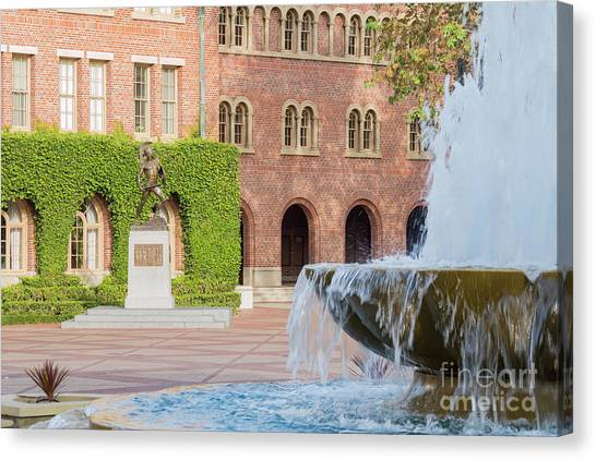 University Of Southern California Usc Canvas Print - Trojans Statue Of The University Of Southern California by Chon Kit Leong