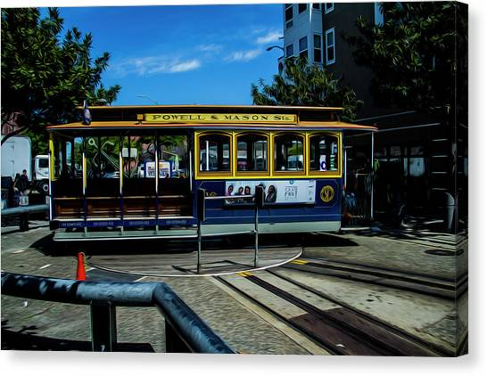 Trolley Car Turn Around Canvas Print