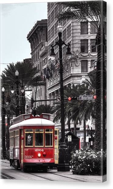 Canal Canvas Print - Trolley On Bourbon And Canal  by Tammy Wetzel