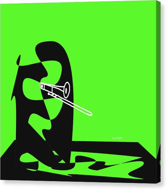 Trombone In Green Canvas Print