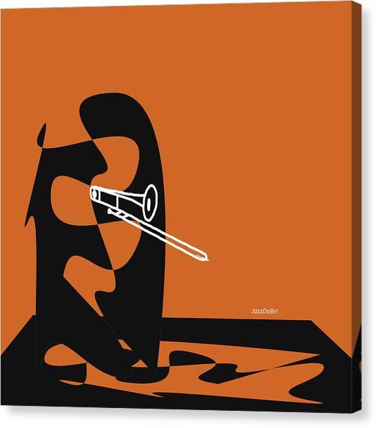 Trombone In Orange Canvas Print