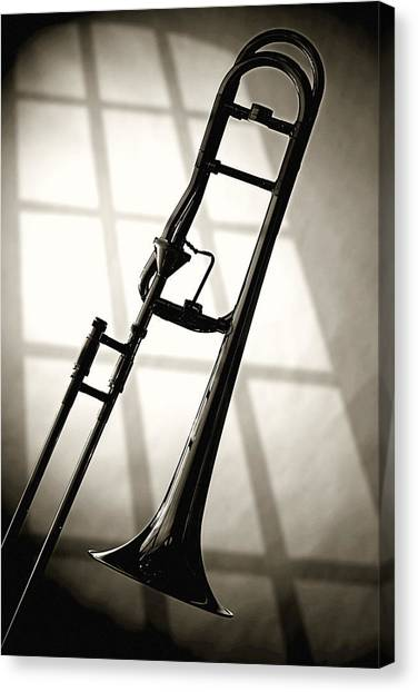 Trombones Canvas Print - Trombone Silhouette And Window by M K Miller