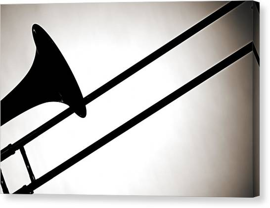 Trombones Canvas Print - Trombone Silhouette Isolated by M K Miller