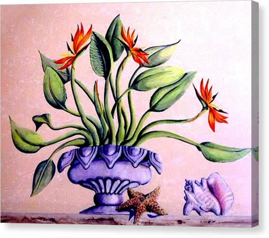 Canvas Print featuring the painting Trompe L'oeil  Birds Of Paradise by Thomas Lupari