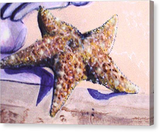 Canvas Print featuring the painting Trompe L'oeil Star Fish by Thomas Lupari