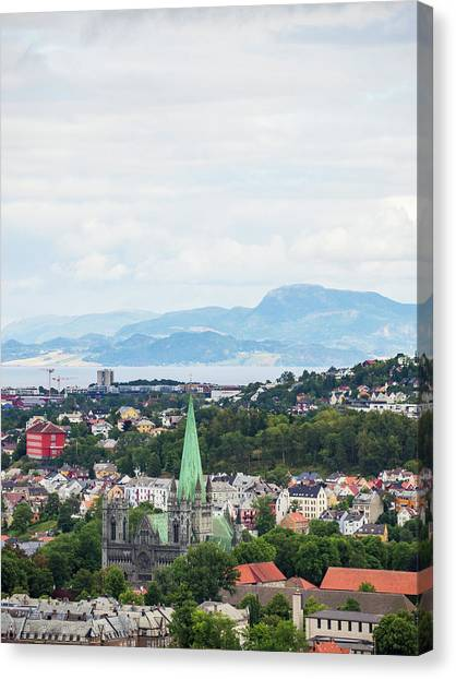 Canvas Print featuring the photograph Trondheim, Norway Cityscape by Whitney Leigh Carlson