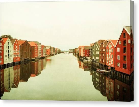 Trondheim On A Rainy Day Canvas Print