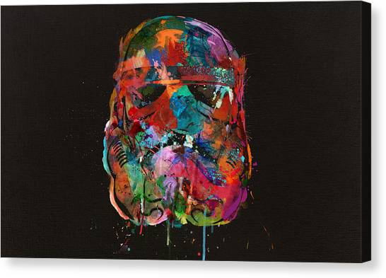 Droid Canvas Print - Trooper In A Storm Of Color by Mitch Boyce
