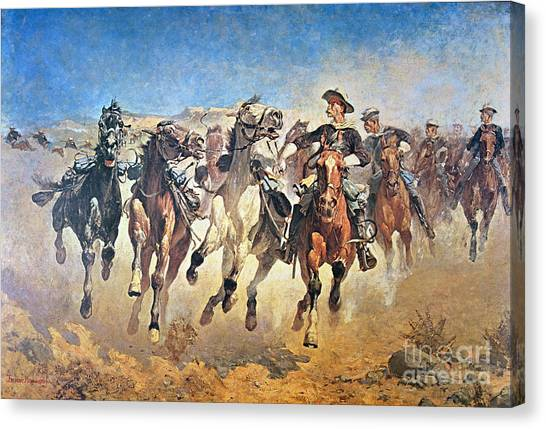 Sprint Canvas Print - Troopers Moving by Frederic Remington