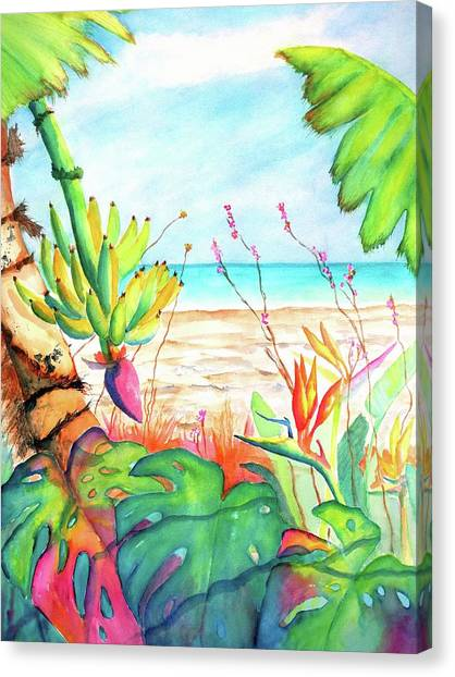 Banana Tree Canvas Print - Tropical Beach Plants Ocean Front by Carlin Blahnik CarlinArtWatercolor