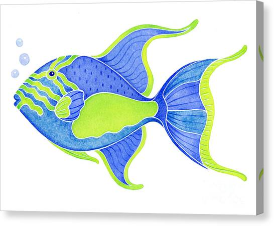 Fish Canvas Print - Tropical Blue Triggerfish by Laura Nikiel