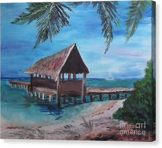 Tropical Boathouse Canvas Print