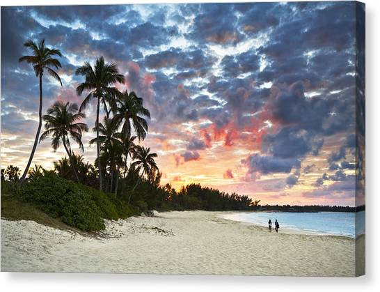 Beach Sunsets Canvas Print - Tropical Caribbean White Sand Beach Paradise At Sunset by Dave Allen
