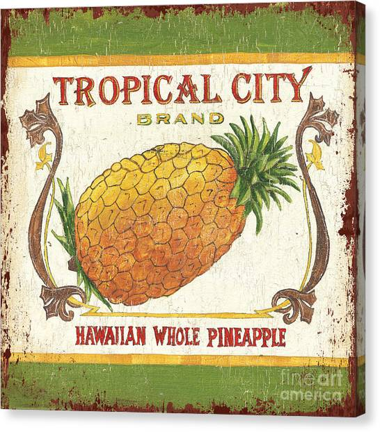 Vegetables Canvas Print - Tropical City Pineapple by Debbie DeWitt