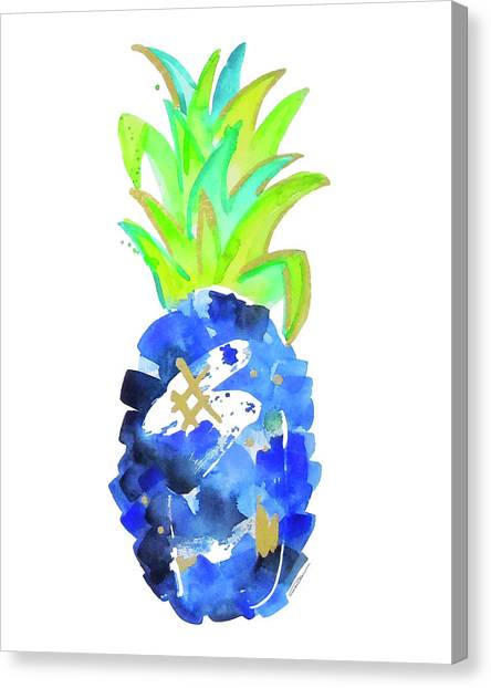 Pineapples Canvas Print - Tropical Cobalt Blue Pineapple by Roleen Senic
