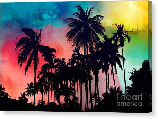 Triangle Canvas Print - Tropical Colors by Mark Ashkenazi