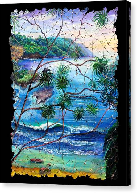 Tropical Cove  Fresco Triptych 2 Canvas Print
