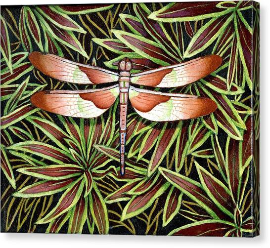 Tropical Stain Glass Canvas Print - Tropical Dragon Fly by Jane Whiting Chrzanoska