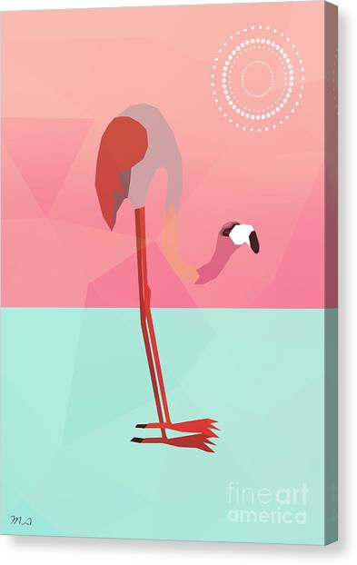 Shapes Canvas Print - Tropical Flamingo by Mark Ashkenazi